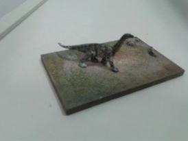 Miniatura de dinossauro usada na cenografia da TV Cultura